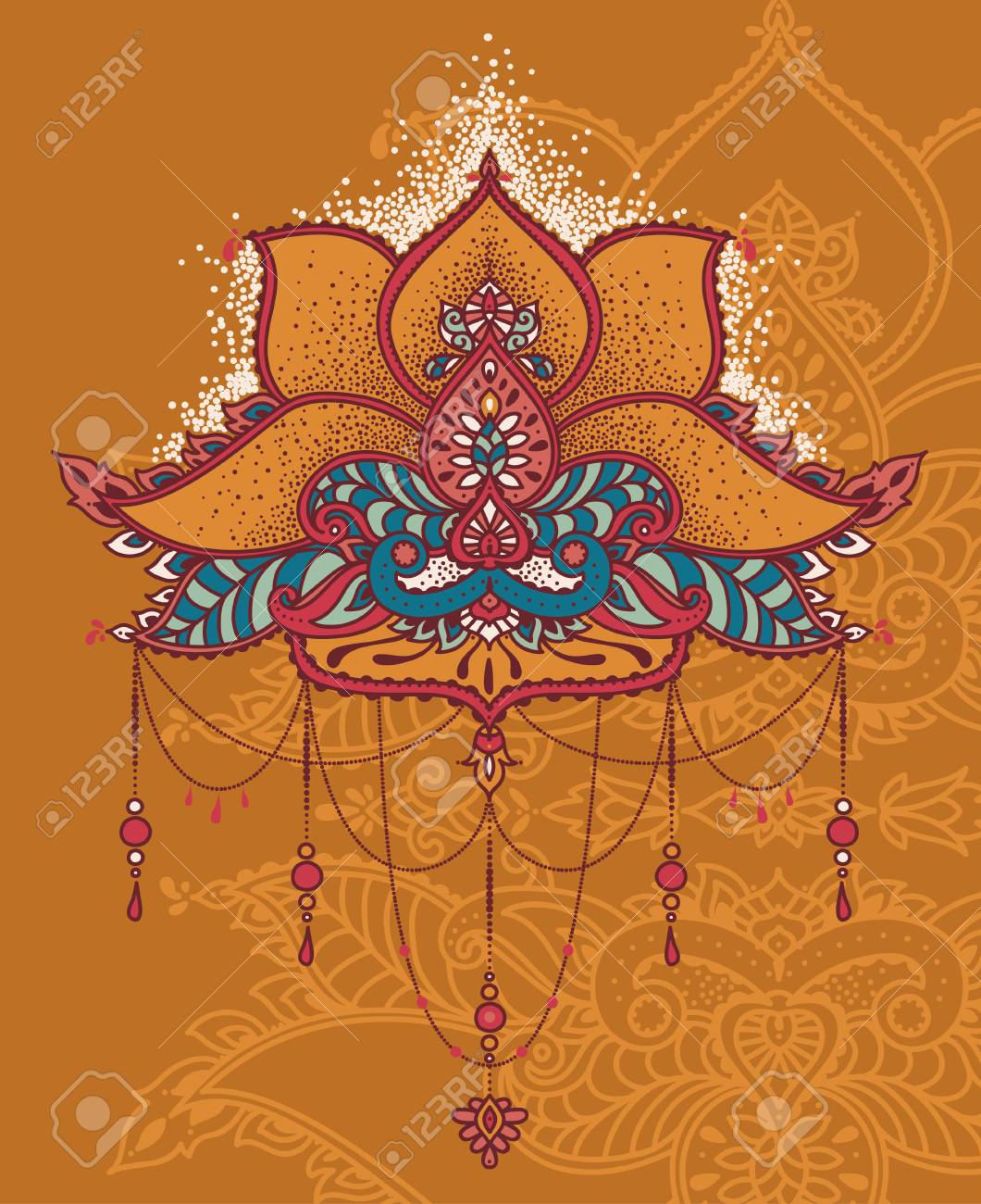Royal Magical Ornament Stylized Lotus Flower In Indian Style
