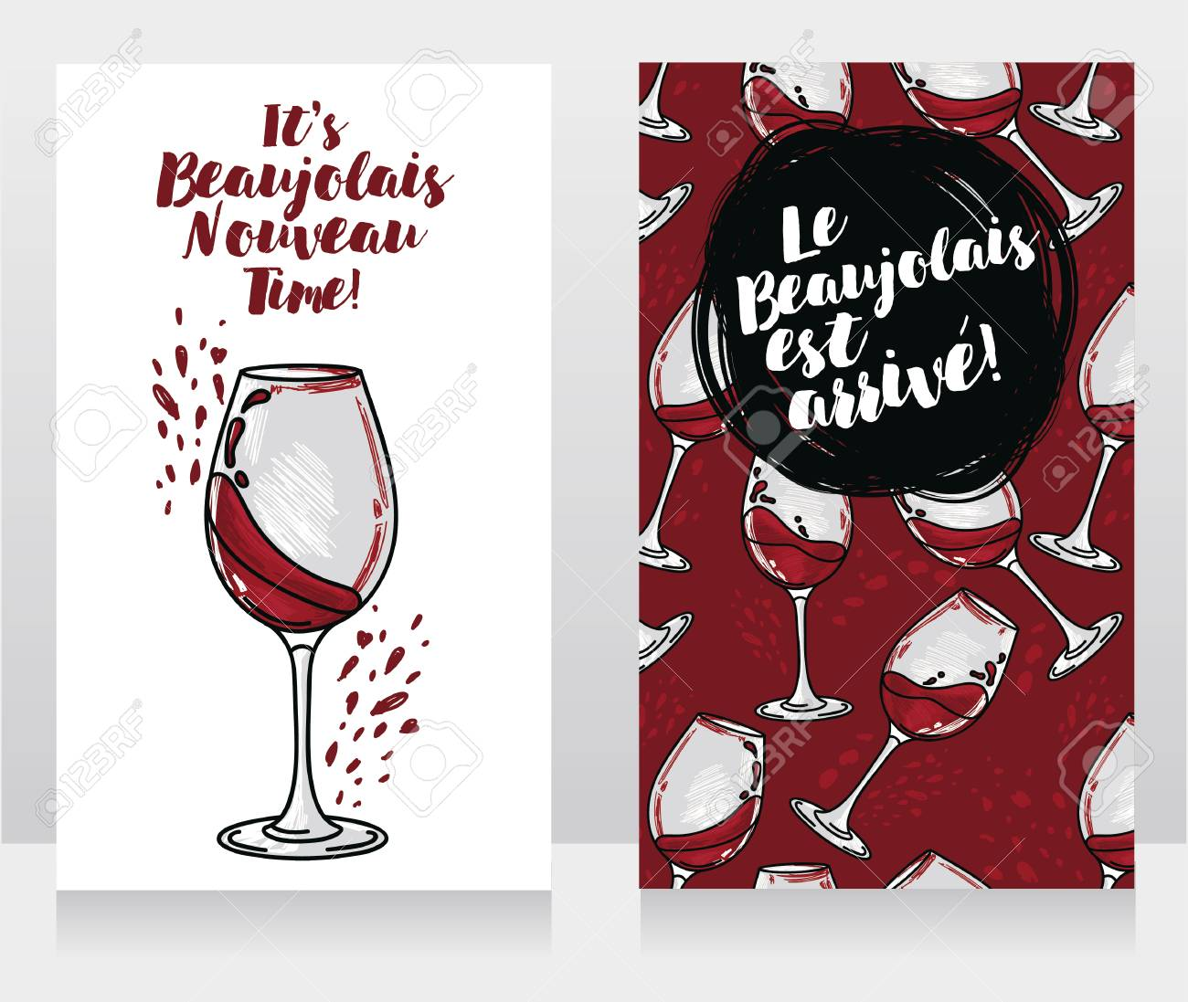 Two Posters For Beaujolais Nouveau, Can Be Used As Menu Cover ...