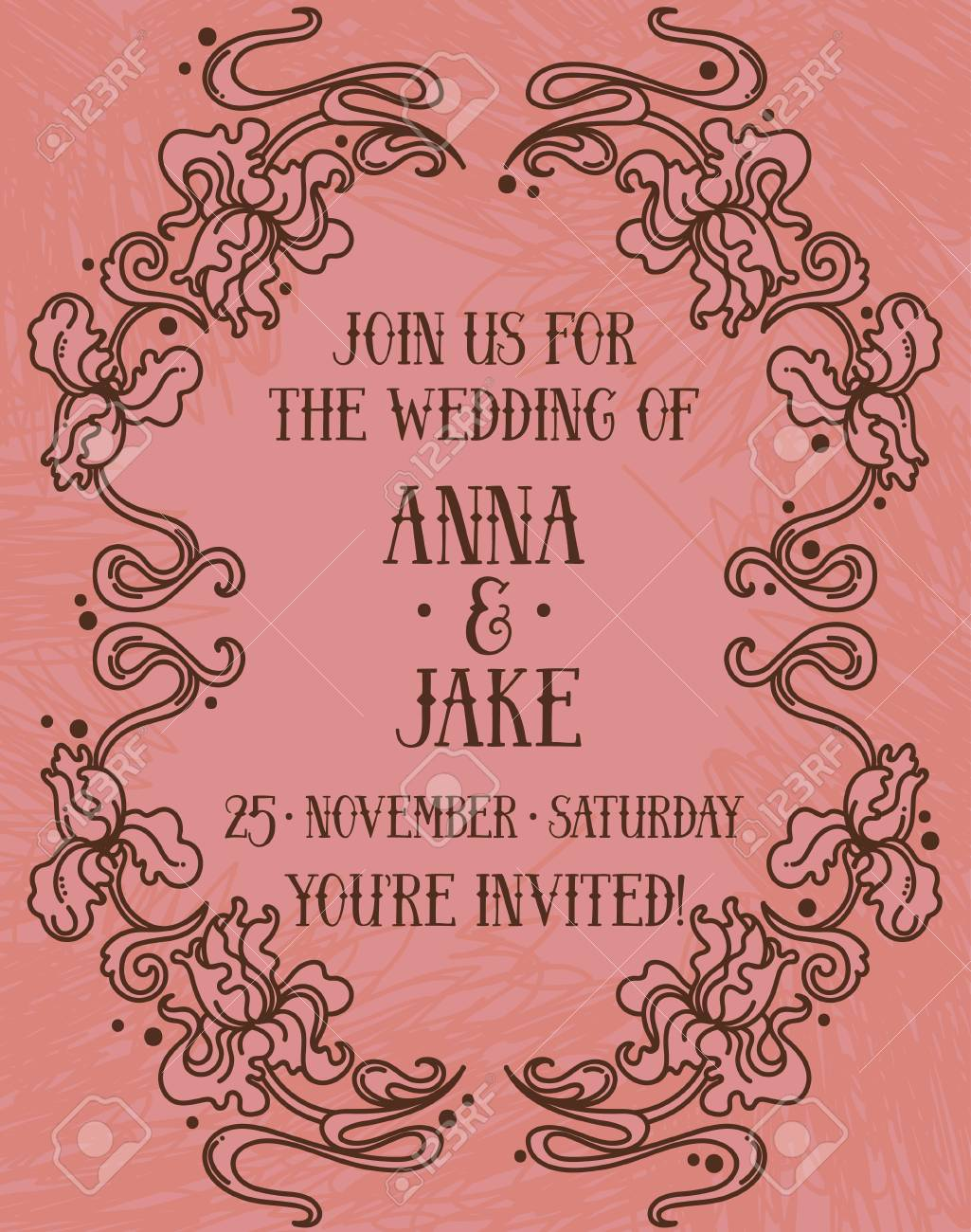Beautiful Wedding Invitation In Art Nouveau Retro Style, Irises ...