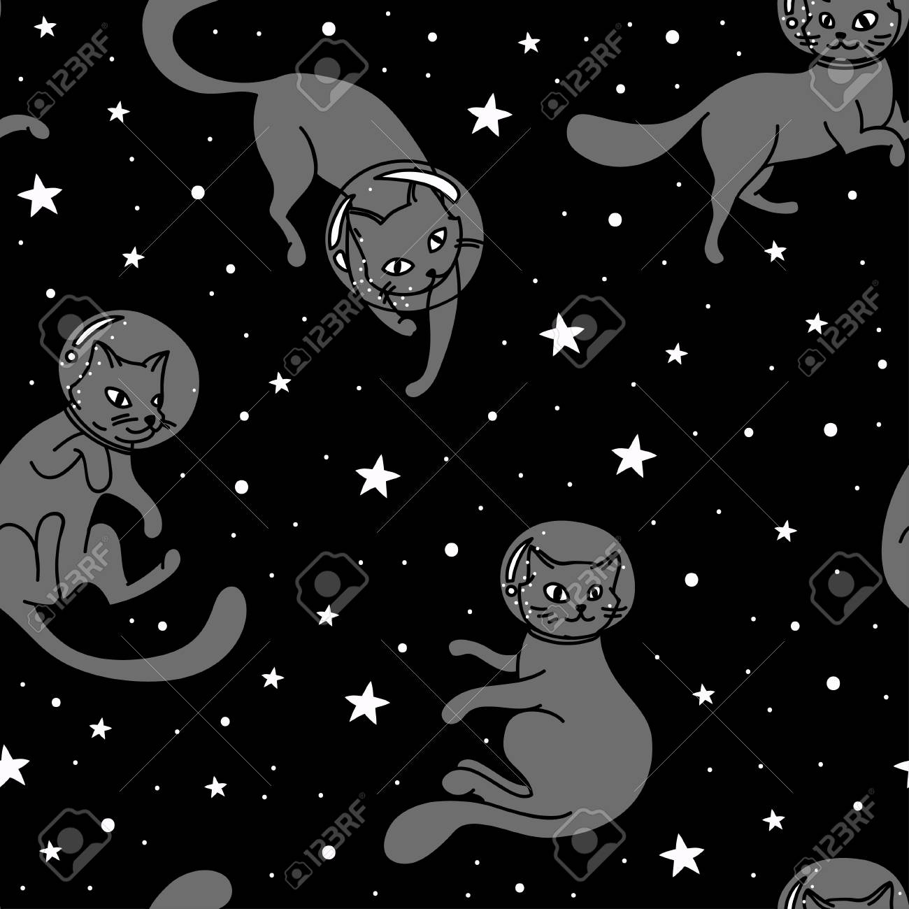 Cosmic Seamless Pattern Cute Doodle Cat Astronauts Floating In