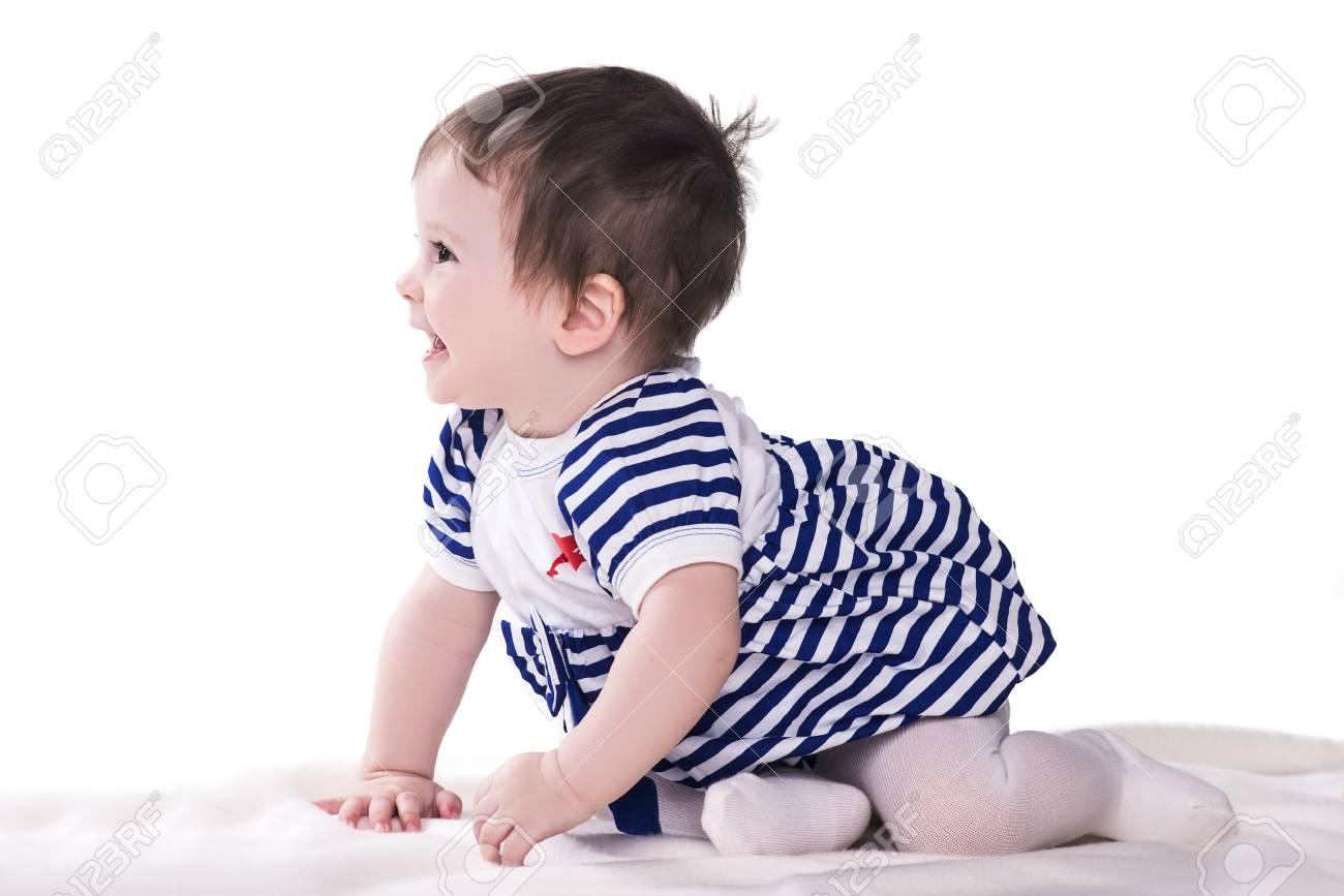 0e6c4d5d685e75 Schattige Kleine Baby Meisje In Blauw-witte Jurk