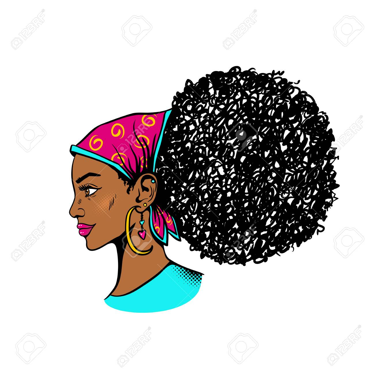Afro American Female Face Sexy Young Black Woman Profile With