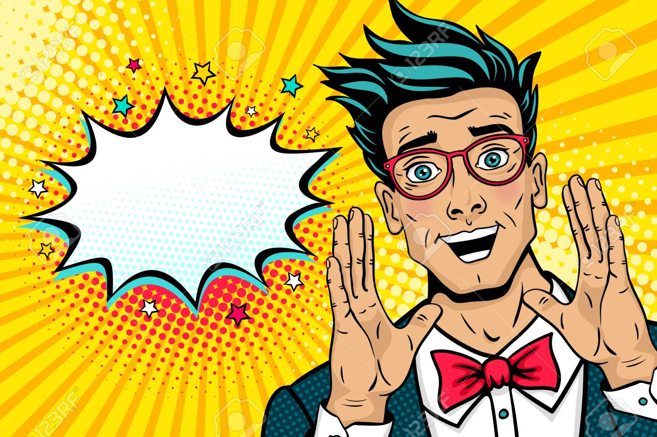 Wow pop art male face. Surprised happy young man in suit, bow tie and glasses with open mouth rises hands screaming announcement. Vector illustration in retro comic style. Party invitation poster. - 90859526
