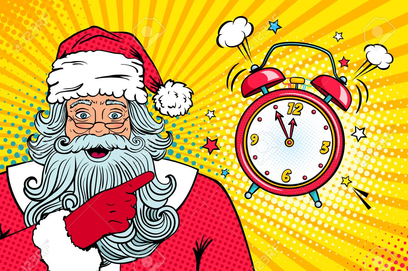 Wow Christmas.Christmas Pop Art Face Wow Santa Claus In Red Costume With Surprised