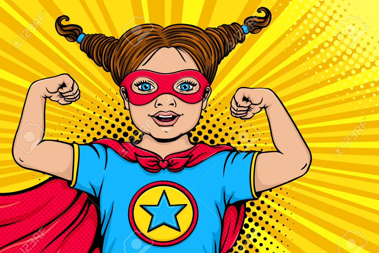 Wow child face. Cute surprised blonde little girl dressed like superhero with open mouth shows her power and strength. Vector illustration in retro pop art comic style. Kids party nvitation poster. - 95195344