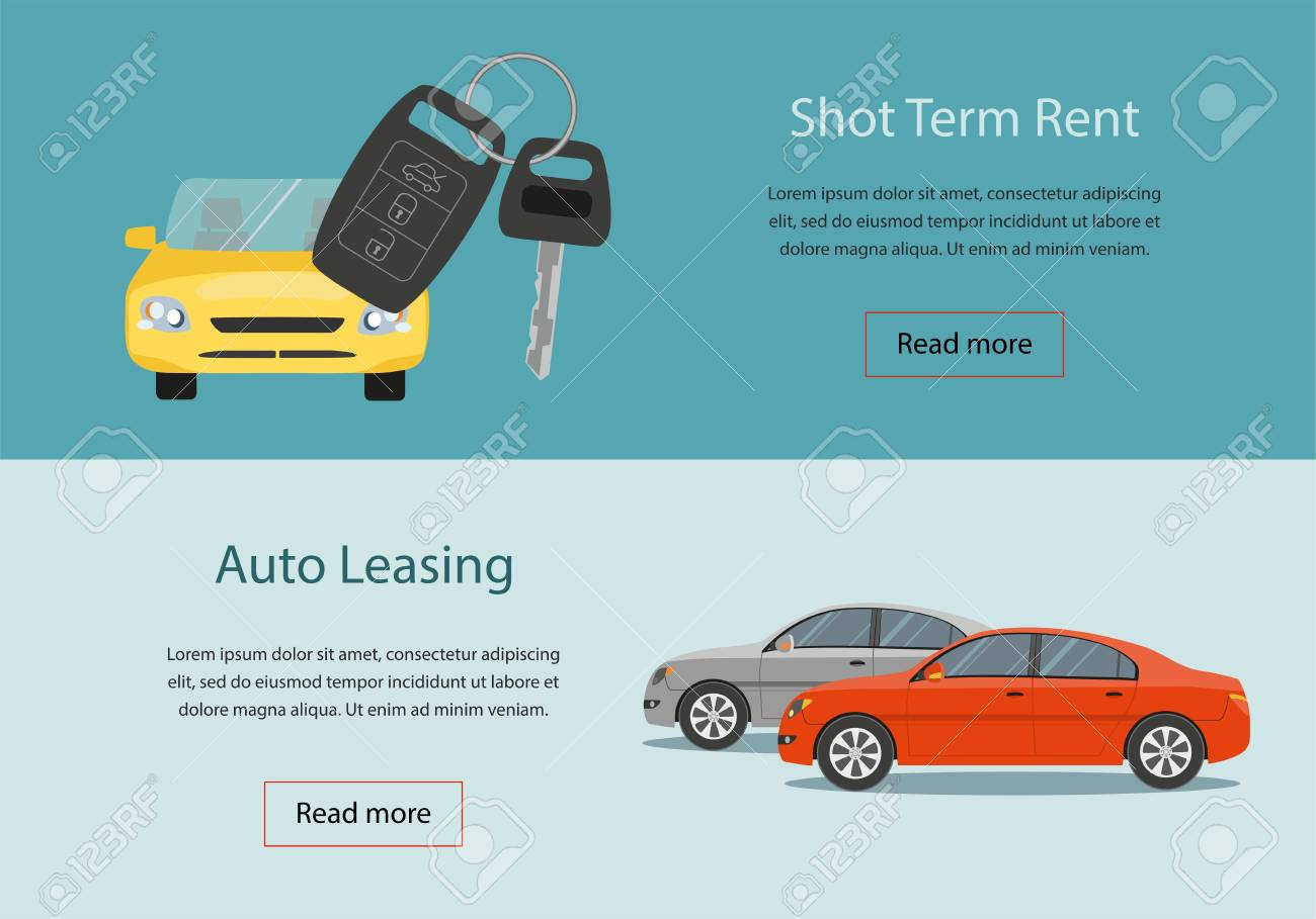 Rental Car And Auto Leasing Banners Rental Concept Responsive