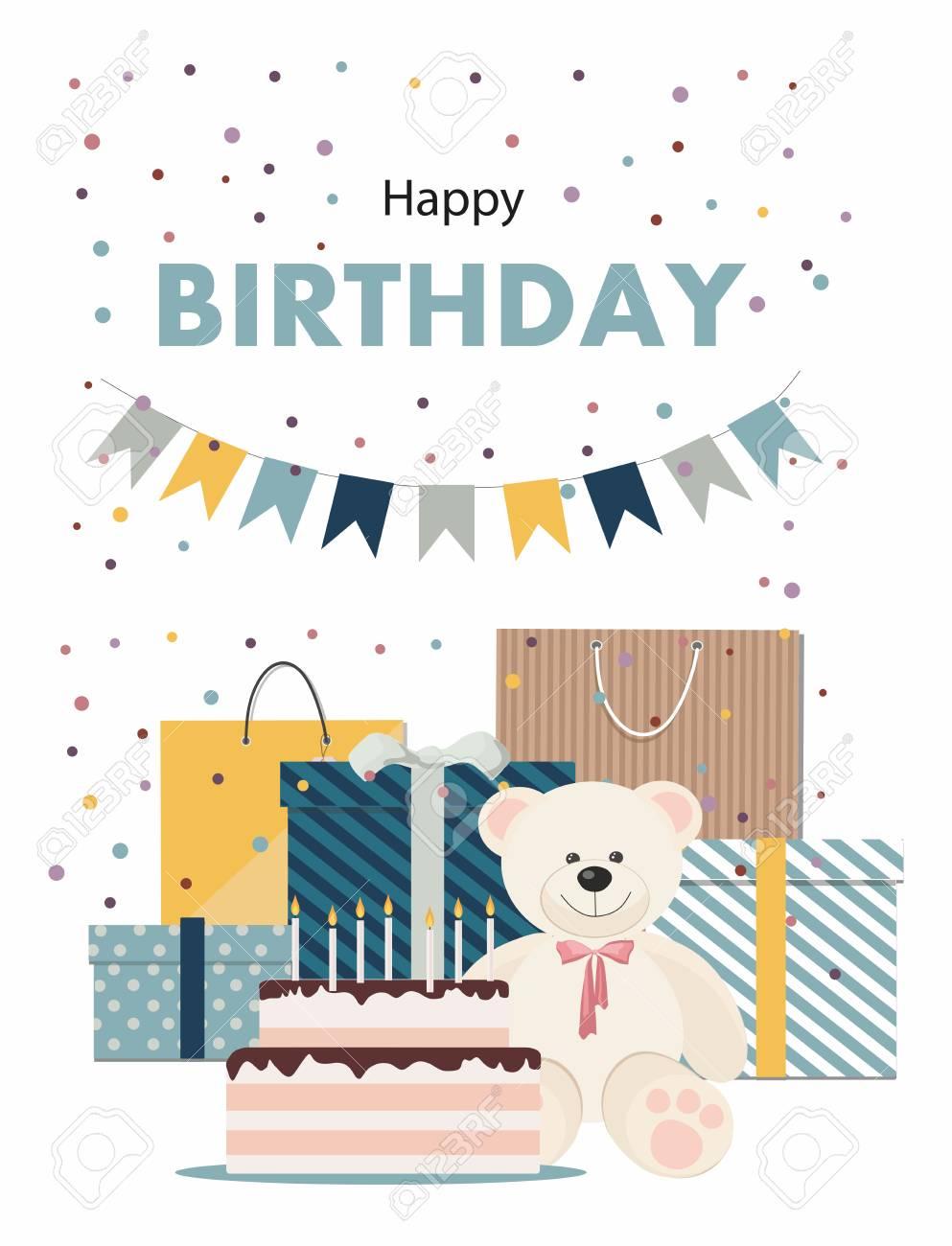 Happy Birthday Card With Teddy Bear Lizenzfrei Nutzbare