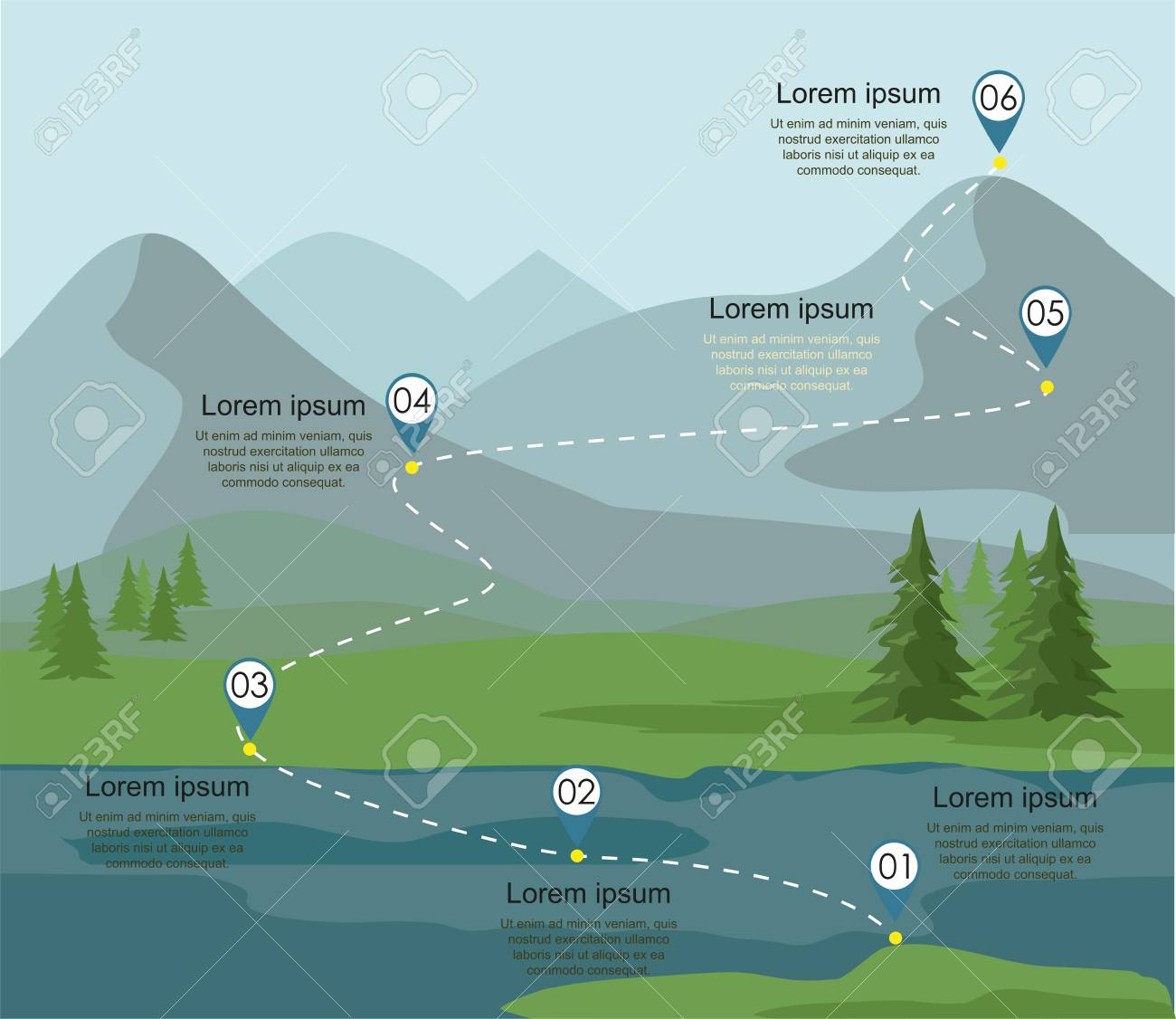 Tourism route infographic. Layers of mountain landscape with fir forest and river. Vector illustration. - 103042733