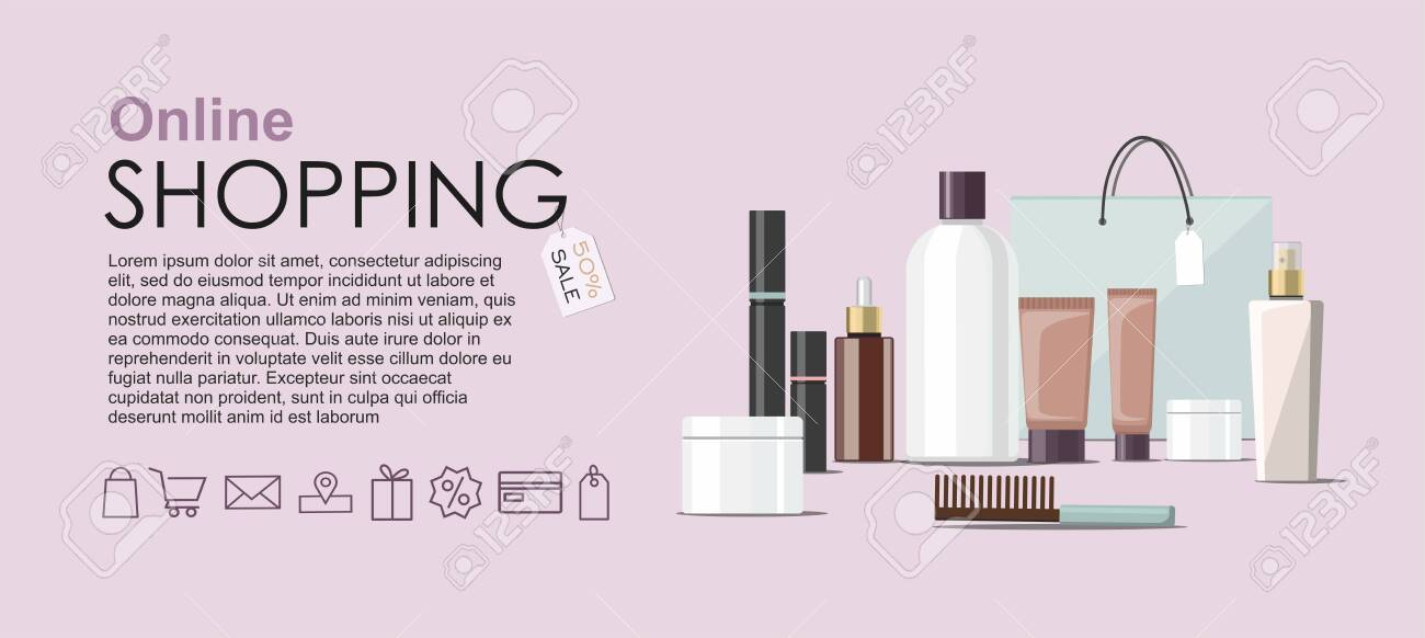 Make Up Products And Skincare Packaging With Cosmetic Bag Online Royalty Free Cliparts Vectors And Stock Illustration Image 130099962