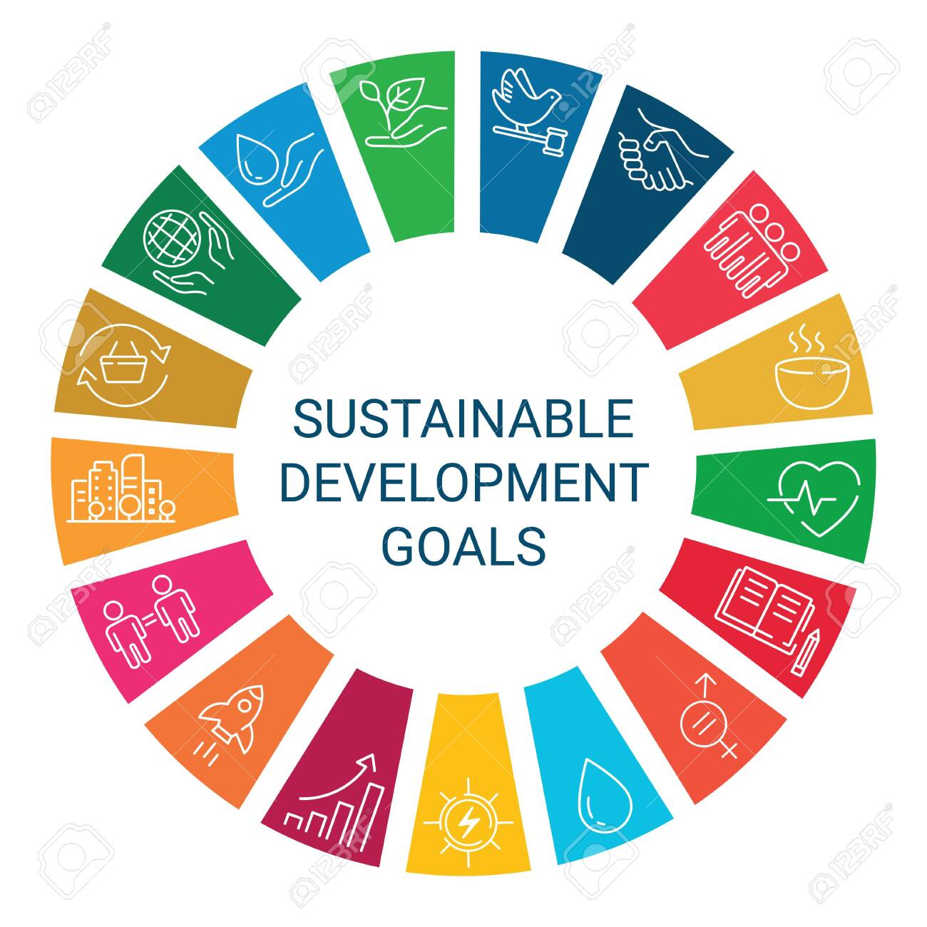 Icons set global business, economics and marketing. Linear style icons. Sustainable Development Goals. Isolated - 134948625