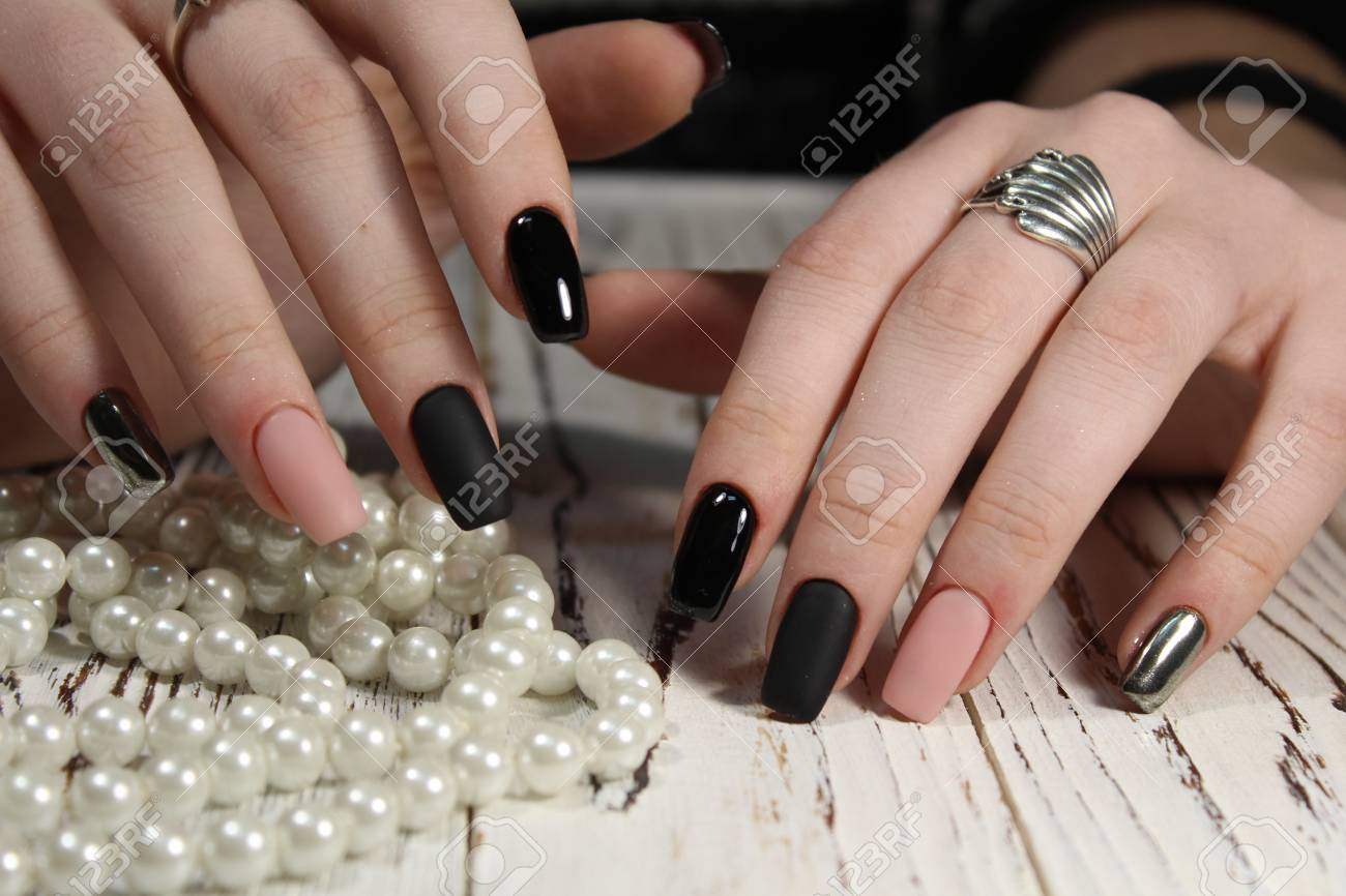 Beautiful Long Nails Delicate Manicure Pearl Beads Stock Photo ...