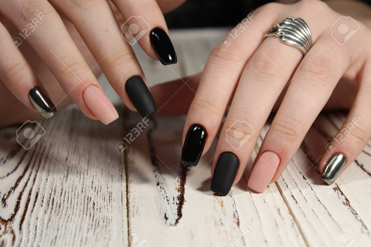 Beautiful Long Nails Color Black Pink And Silver Stock Photo ...