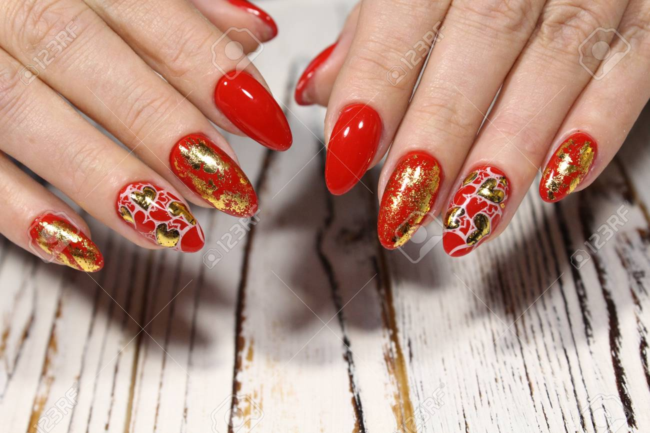 Holiday Manicure For Valentine S Day On Long Nails Stock Photo
