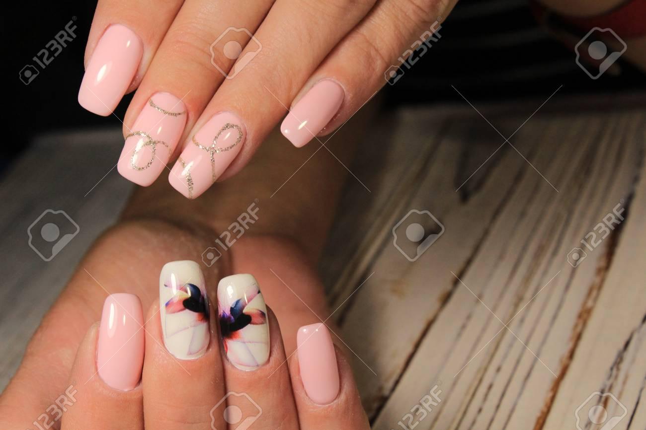 Stylish manicure on long nails