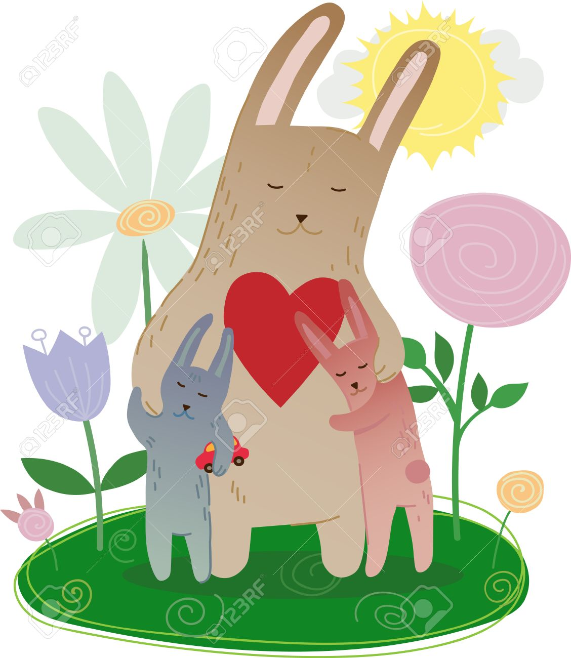 うさぎの家族、母や、ウサギを抱いて子供イラストを穏やかな花と心の