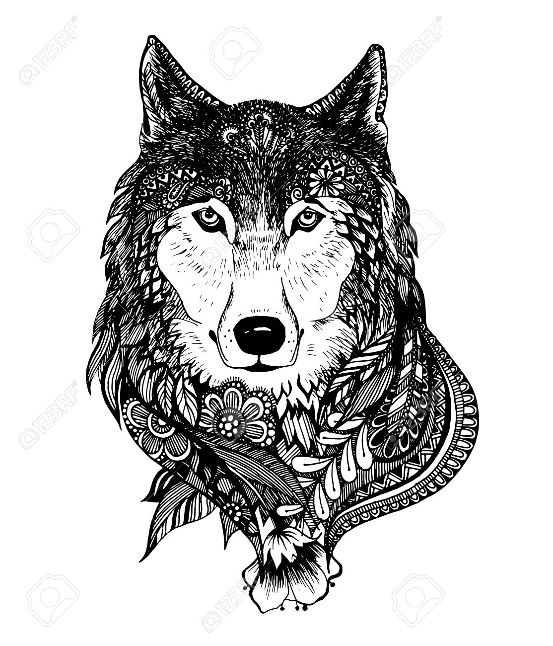 Abstract Hand Drawing With Elements Of Ornaments Wolf Graphic