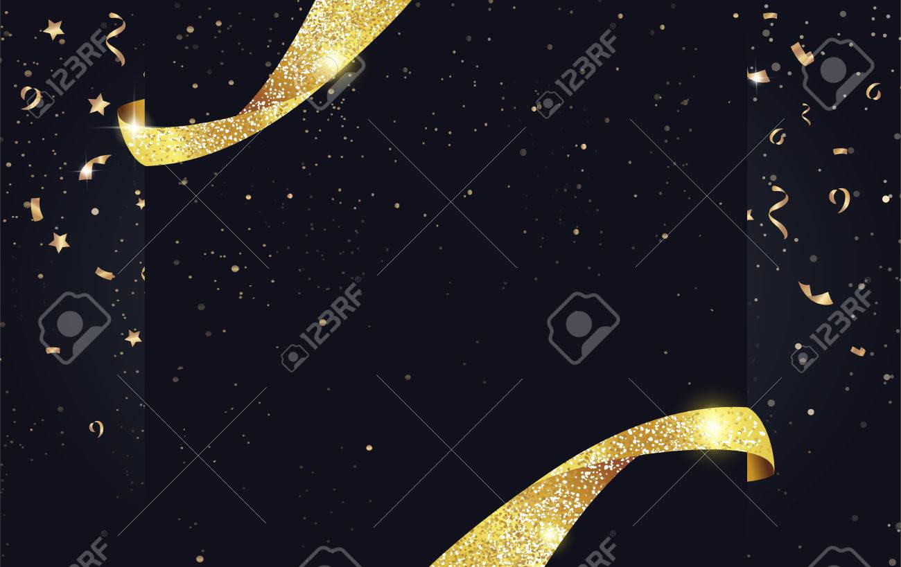 Festive sparkling background with ribbons, gold sparkles and confetti. - 64911087