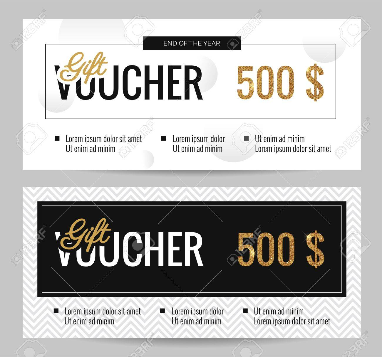 Black and white gift voucher coupon discount set of elegant black and white gift voucher coupon discount set of elegant gift certificate templates with gold yelopaper Images