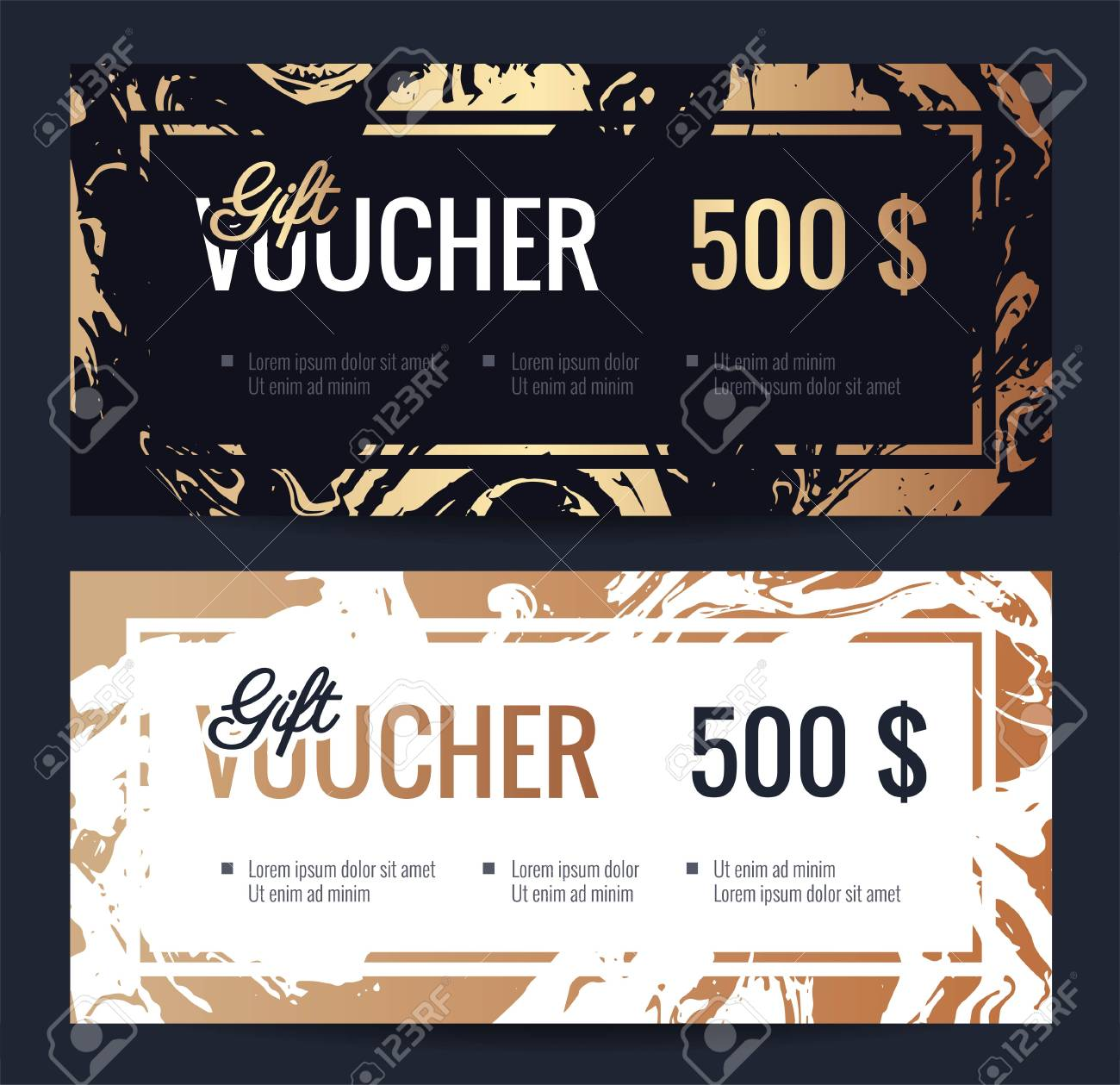 elegant gift certificate template with handmade gold marble texture shopping