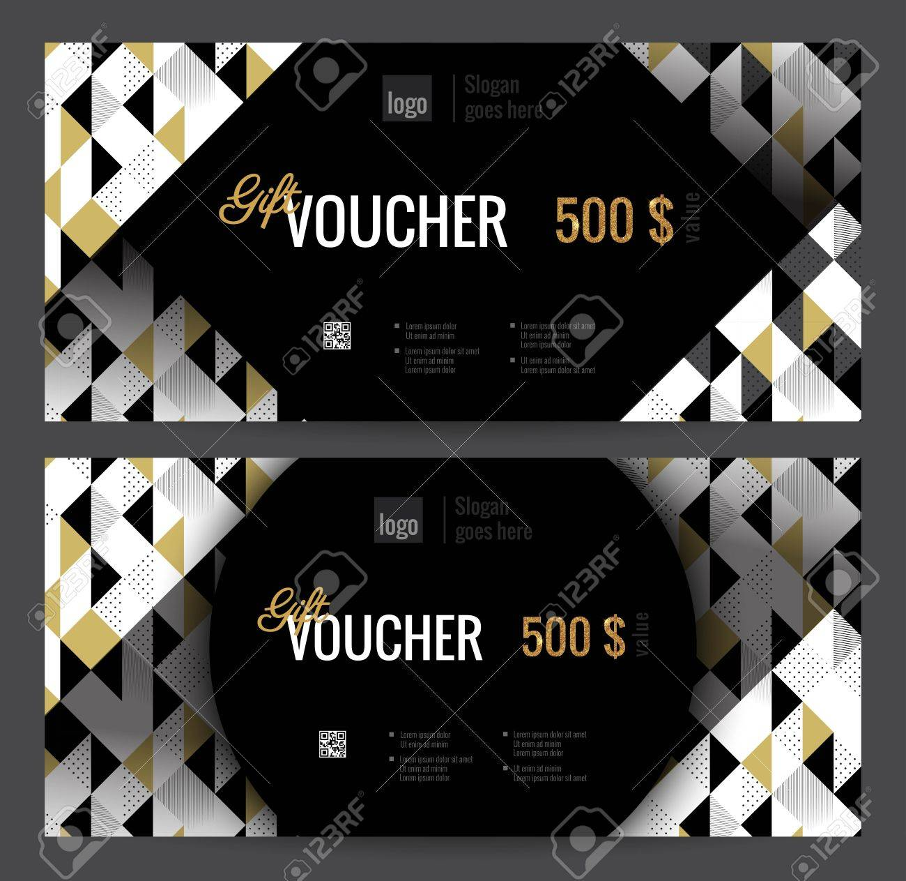 elegant gift certificate template with gold black and white triangle pattern