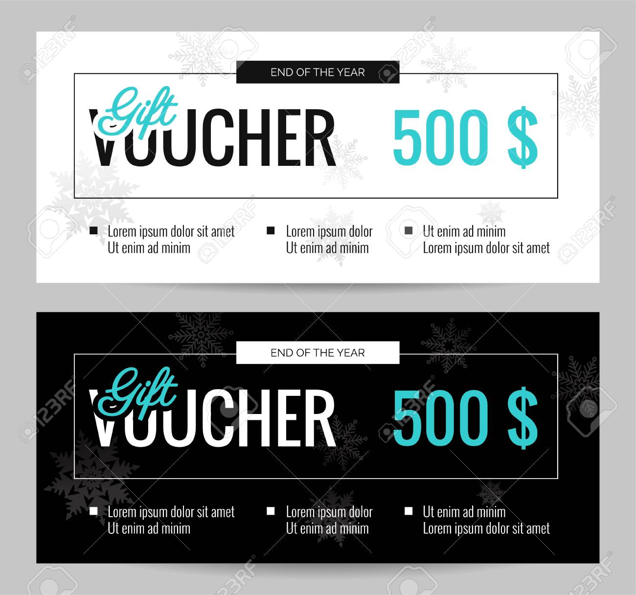 christmas gift voucher coupon discount elegant gift certificate template for merry christmas shopping concept