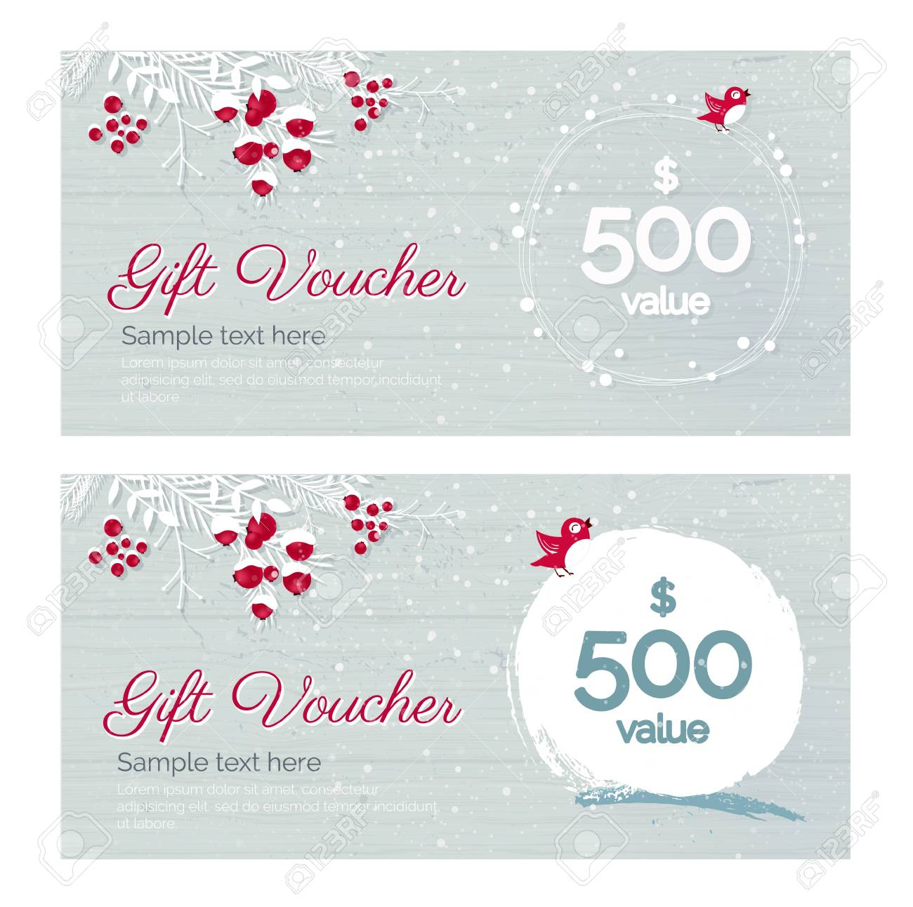 Cute Hand Drawn Christmas Gift Voucher Coupon Discount Gift
