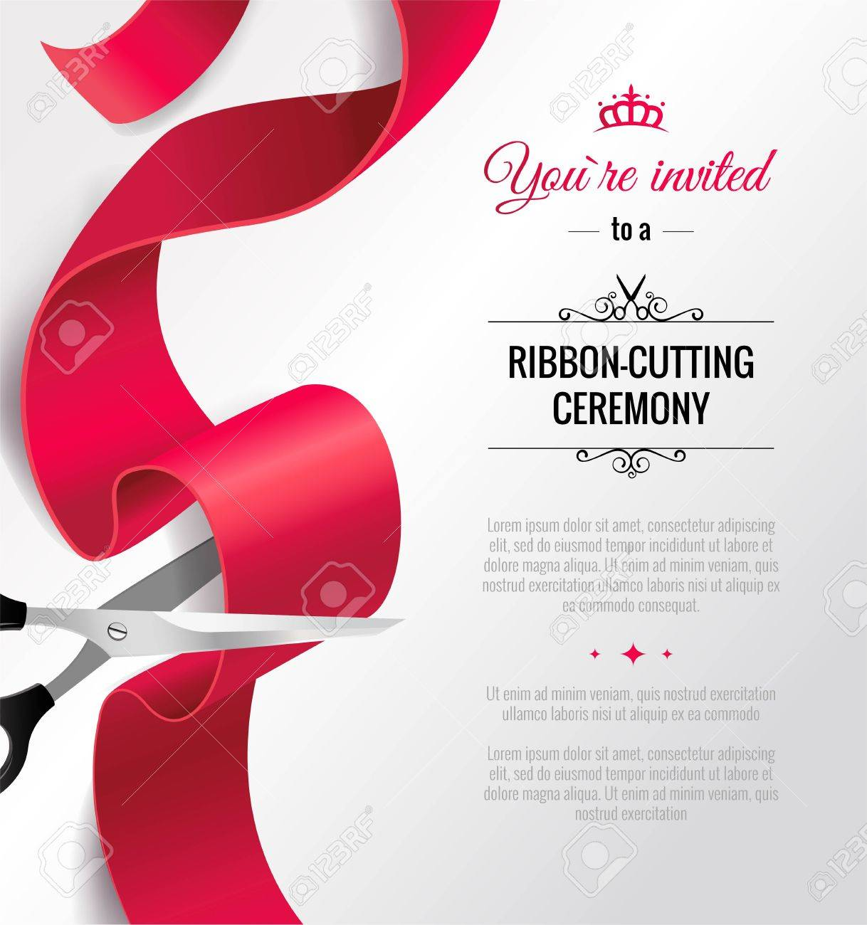 You Are Invited Invitation Card With Curving Ribbon And Copy