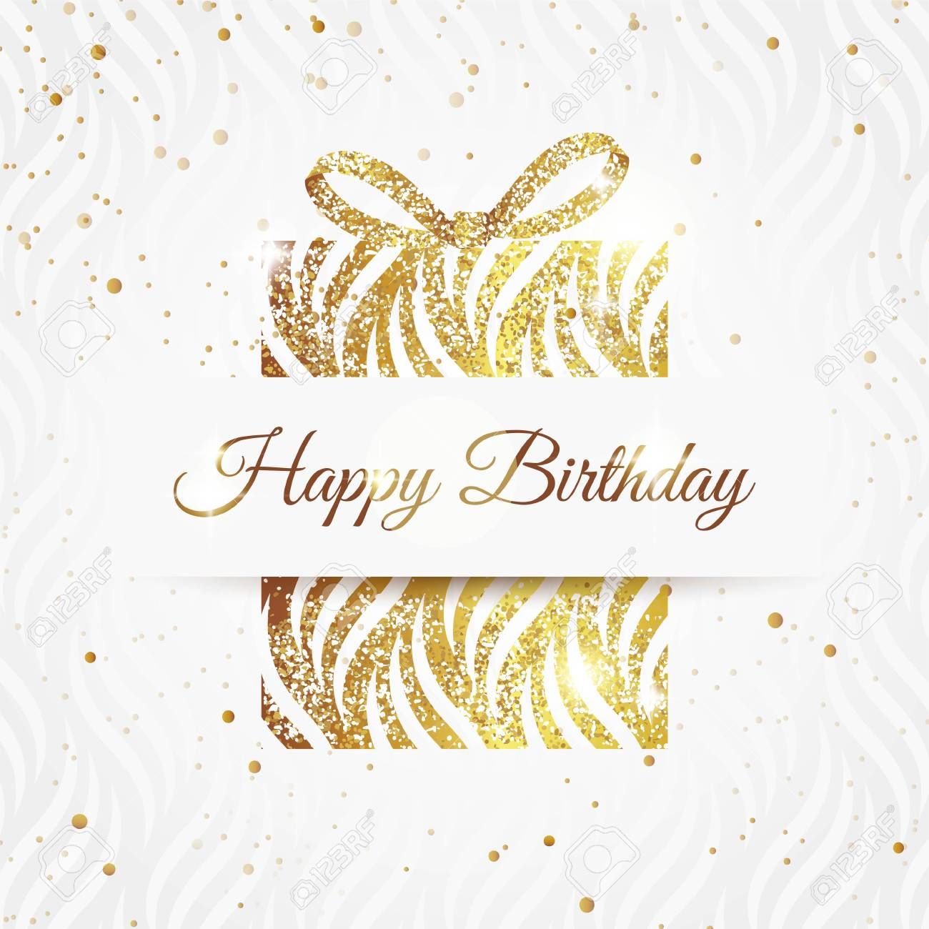Happy Birthday Elegant Card With Golden Gift And Bow Birthday