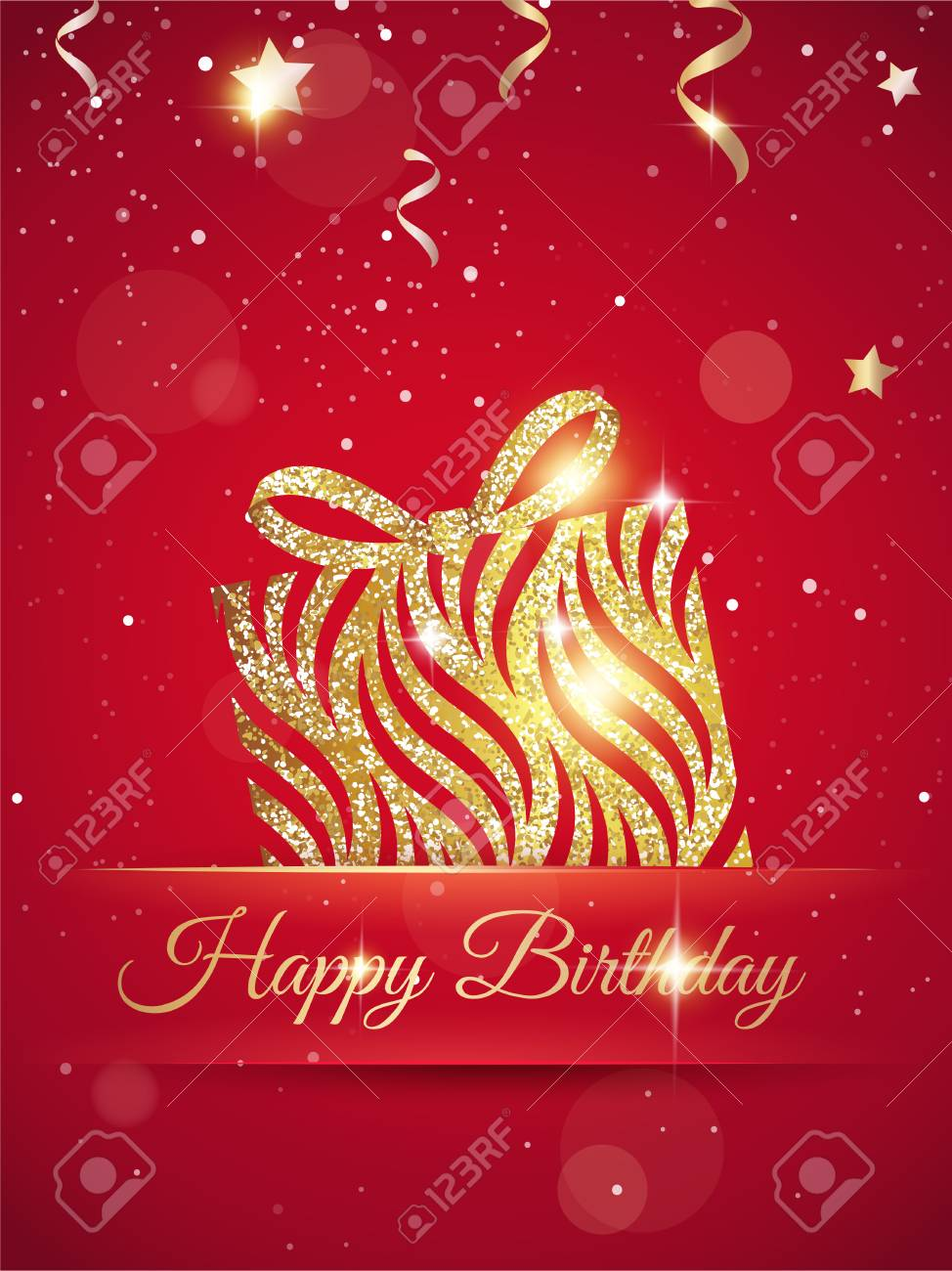 Happy birthday elegant red card with gift, confetti and gold..