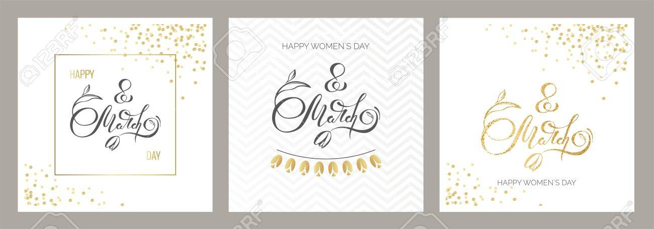 8 march golden cards  Gold and black calligraphic text  International