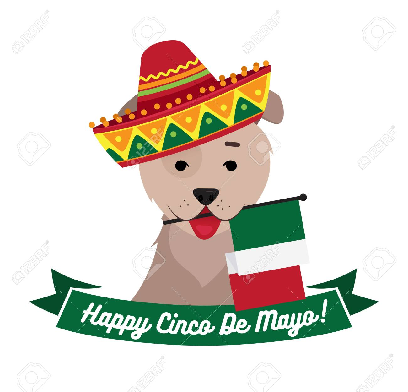 Dog In Sambrero Holding Mexican Flag With Mouth Cinco De Mayo Day Funny Background