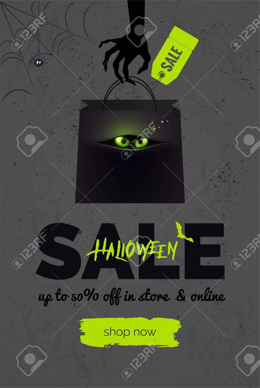 halloween sale black and green background. halloween banner
