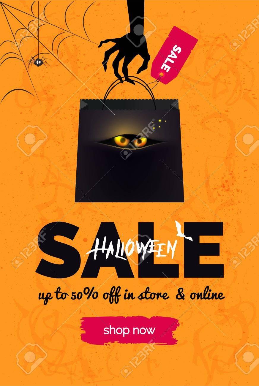 halloween sale black and orange background. halloween banner