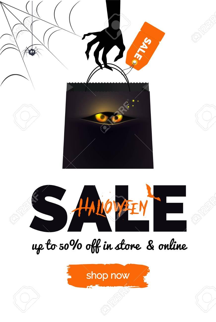halloween sale black, white and orange background. halloween