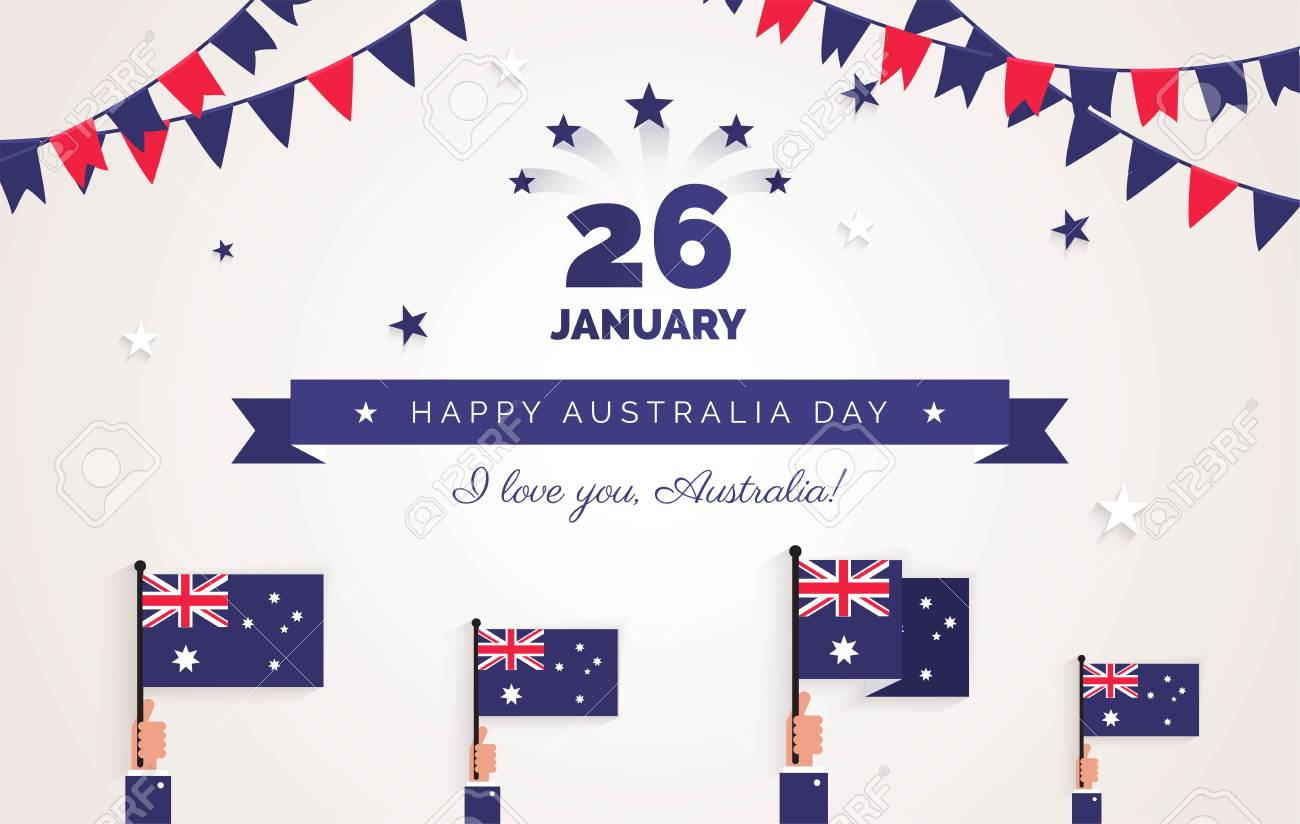 26 january australia day greeting card holiday background with australia day greeting card holiday background with waving flags ribbon and m4hsunfo