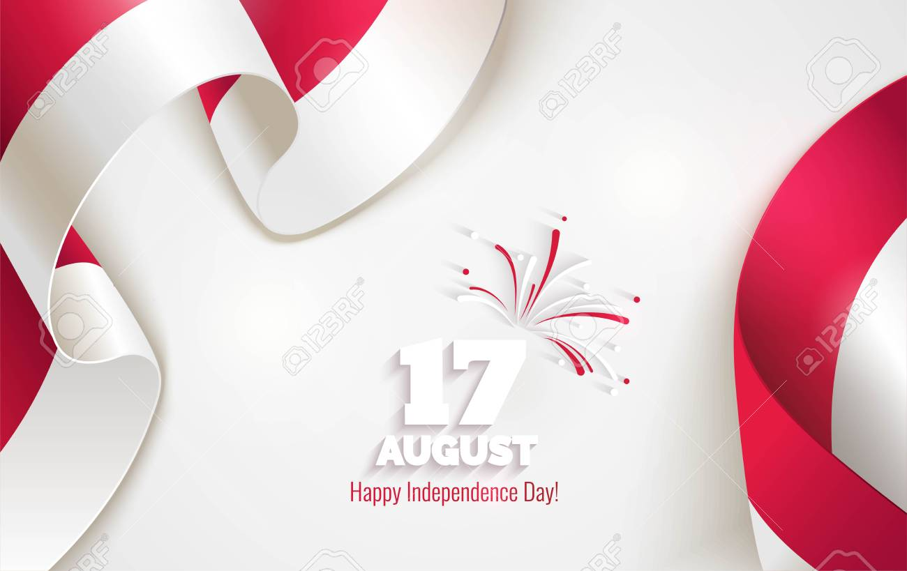 17 august indonesia happy independence day greeting card waving indonesia happy independence day greeting card waving indonesian flags isolated on white m4hsunfo