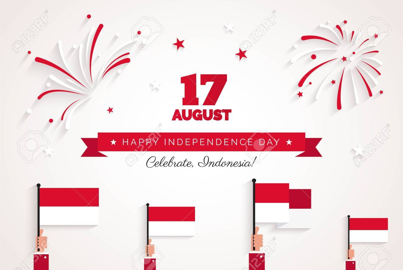 17 august indonesia independence day greeting card celebration indonesia independence day greeting card celebration background with fireworks flags and m4hsunfo