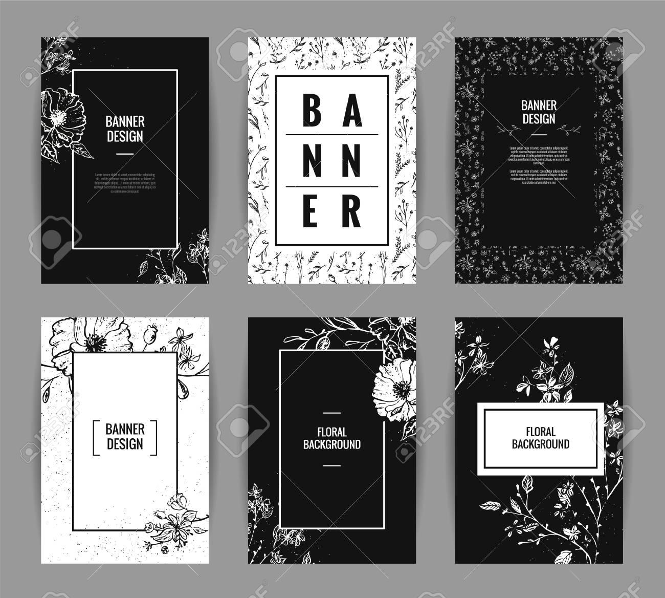Set Of Graceful Floral Banner Template Design Invitation Posters