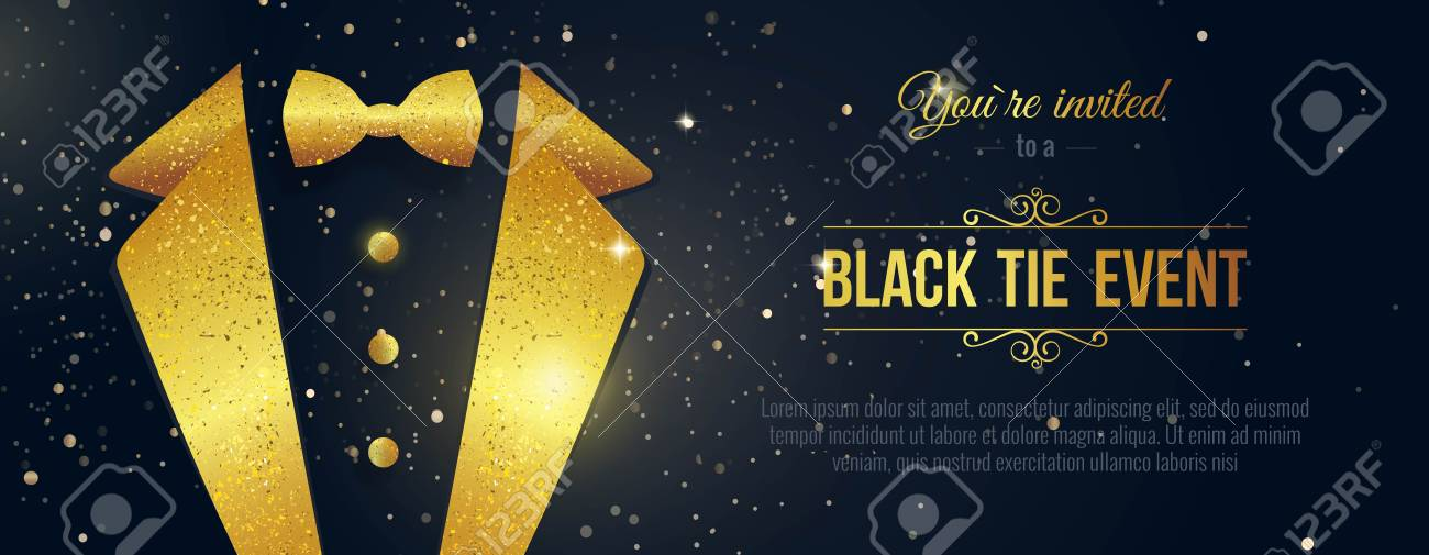 Horizontal black tie event invitation businessmen banner elegant horizontal black tie event invitation businessmen banner elegant black card with golden sparkles stopboris Images
