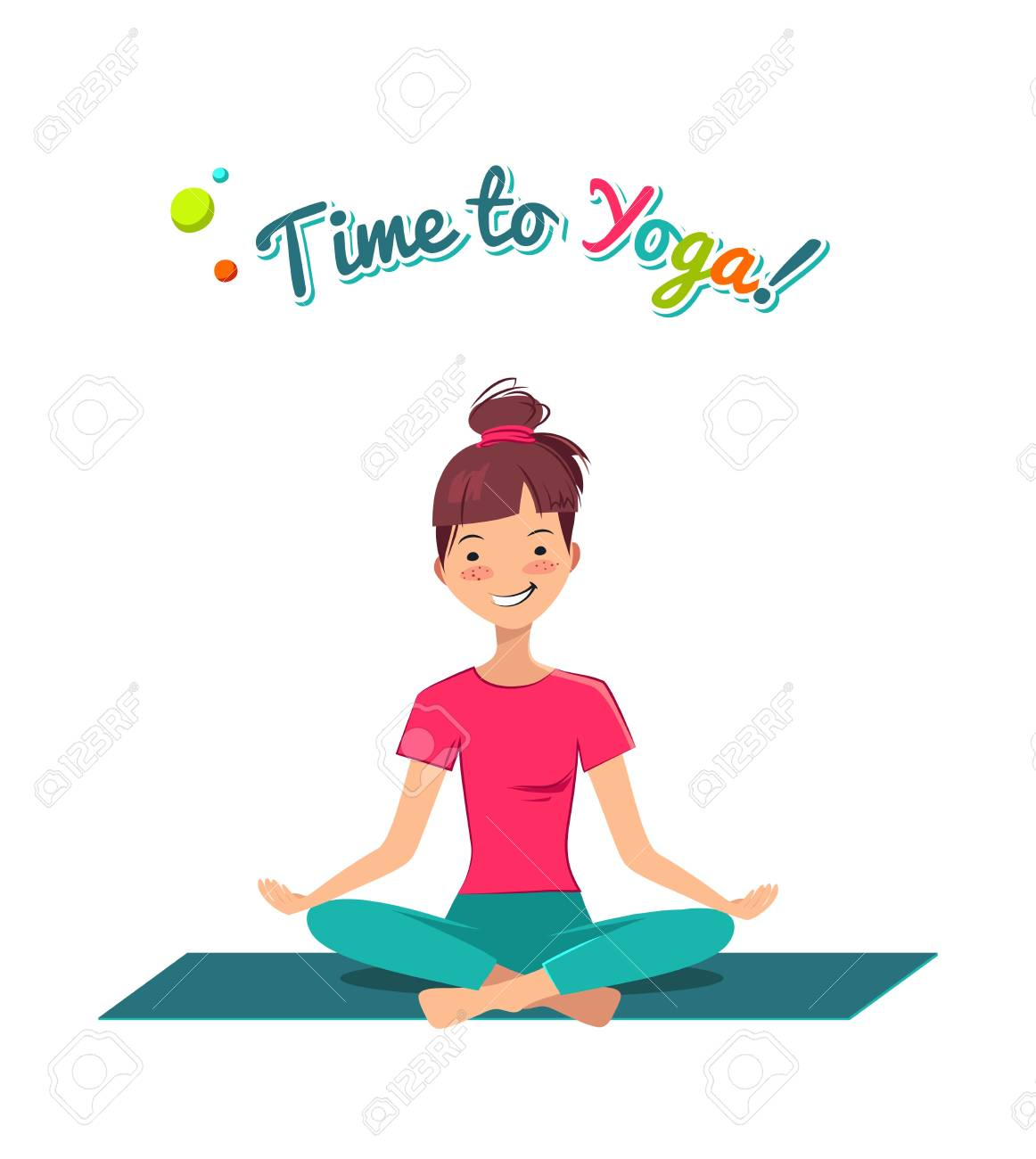 Time To Yoga Poster. Pretty Young Girl Doing Yoga Exercise In.. Royalty  Free Cliparts, Vectors, And Stock Illustration. Image 85454139.