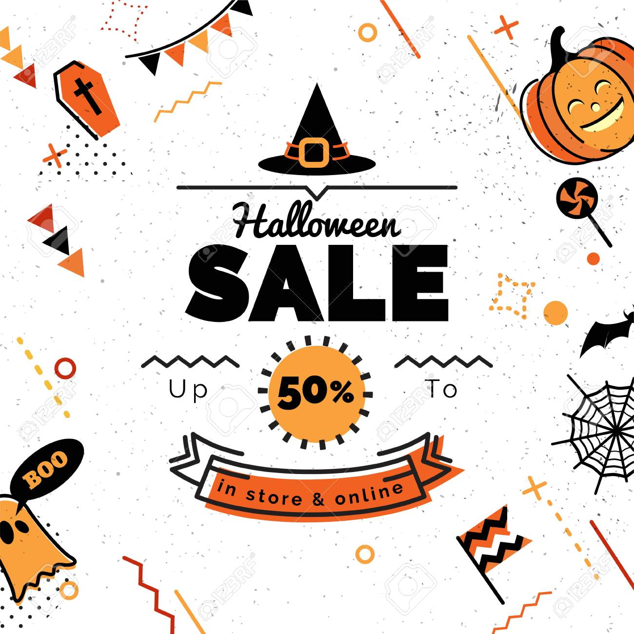 Halloween Sale Banner Sale Vector Illustration. Sale Background In 80s  Memphis Style With Holiday Symbols