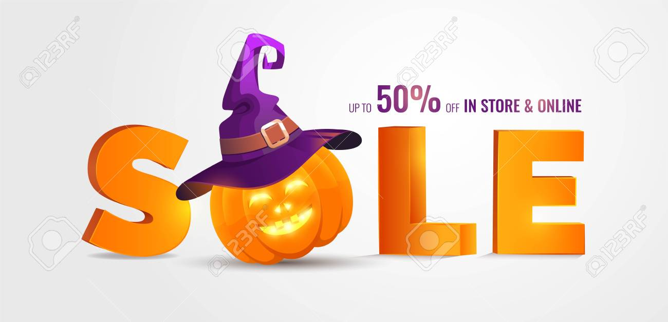 Halloween Sale Banner With Big 3d Letters Sale And Holiday Symbols Pumpkin  And Witch Hat.