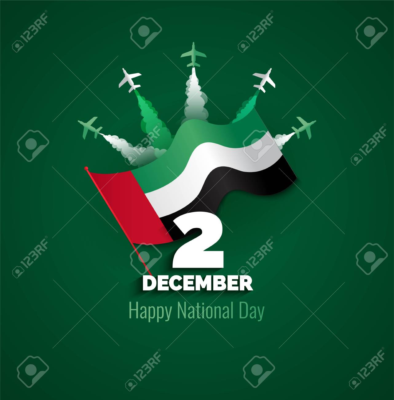 Uae Independence Day Greeting Card Design Royalty Free Cliparts