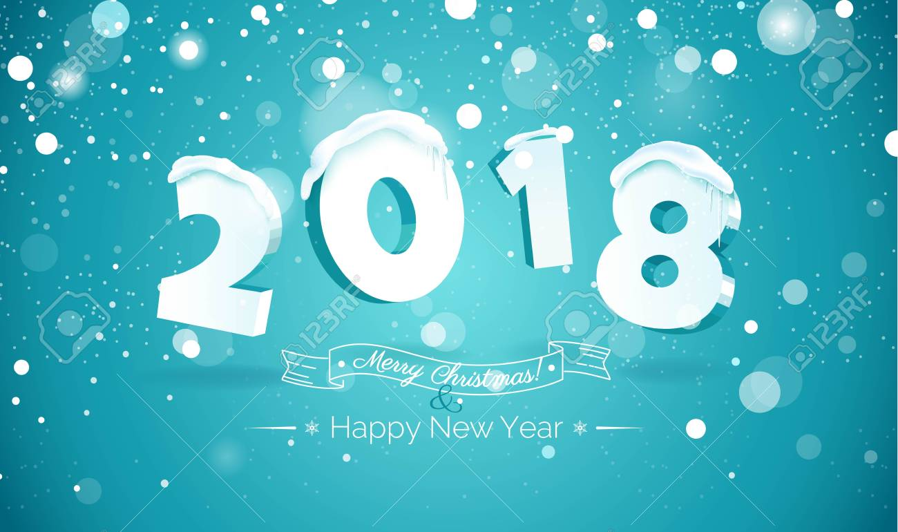 happy new year 2018 text design2018 snow number illustration happy holidays banner with