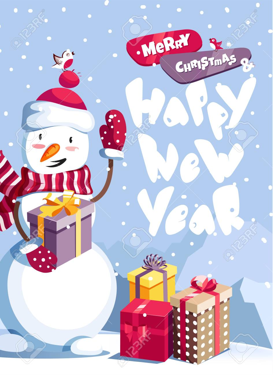 merry christmas and happy new year vector background with cute snowman and typographic design winter