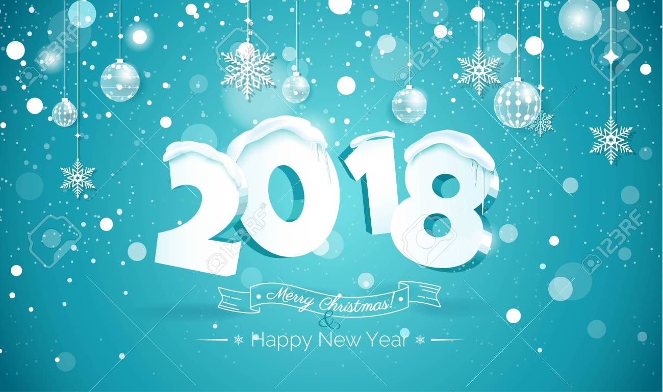 happy new year 2018 text design 2018 snow number illustration happy holidays banner with