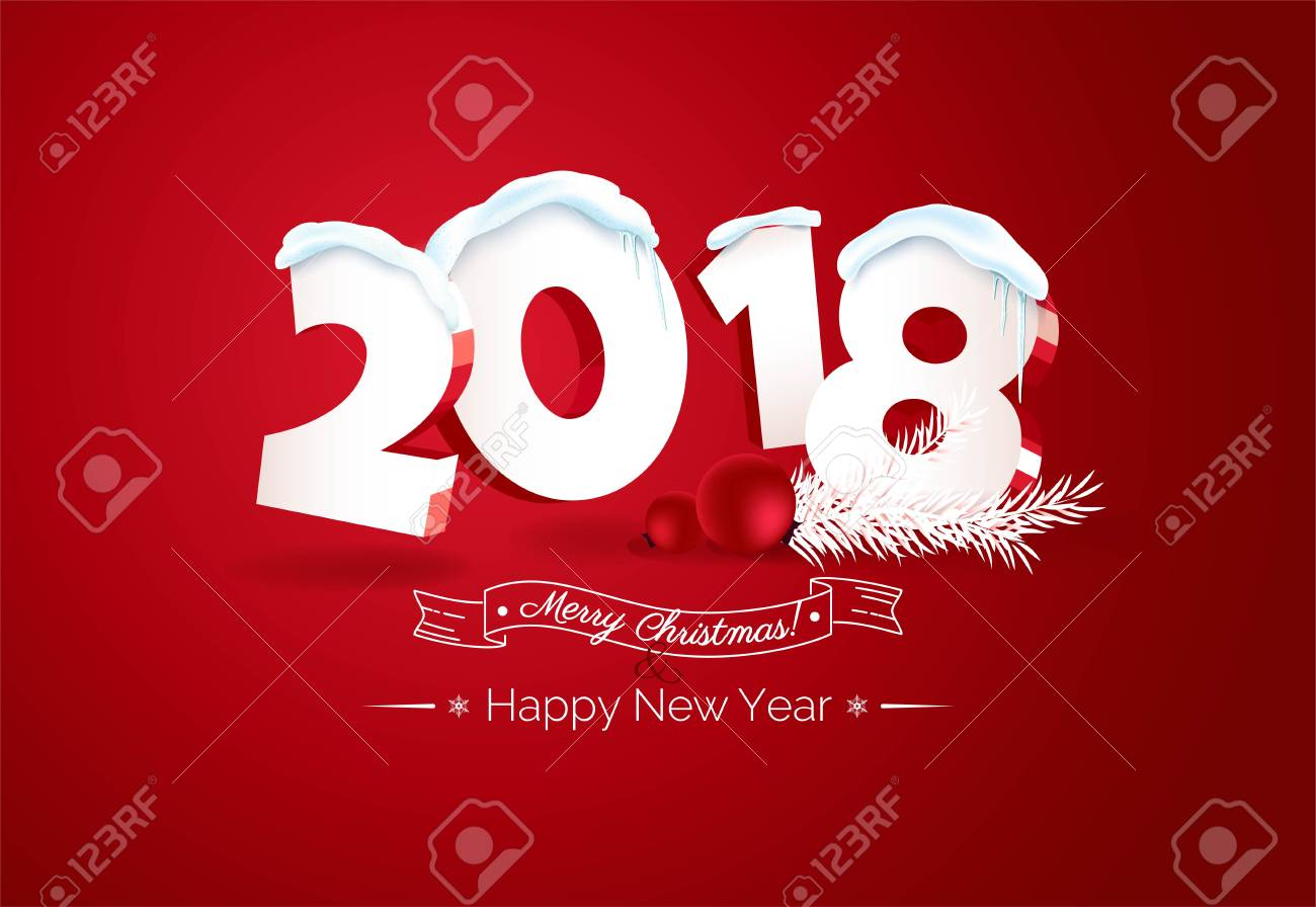 happy new year 2018 text design happy holidays banner with 2018 3d numbers berries