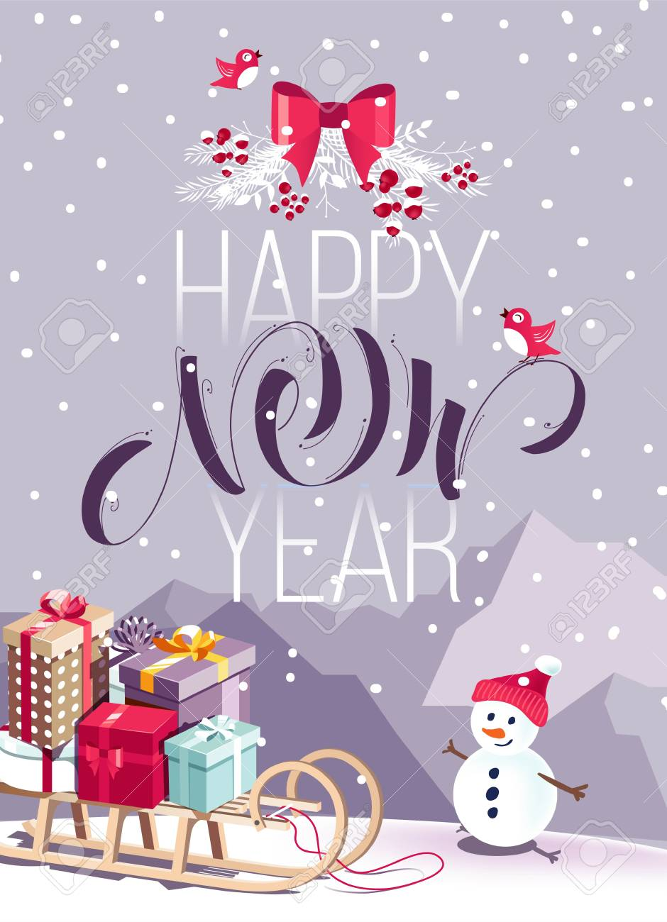merry christmas and happy new year vector background with cute snowman santa sleigh and typographic