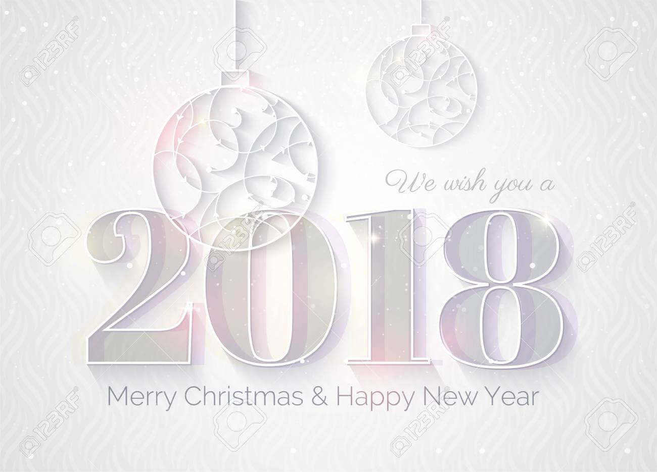 2018 White Sparkling Background. Happy New Year Greeting Card ...