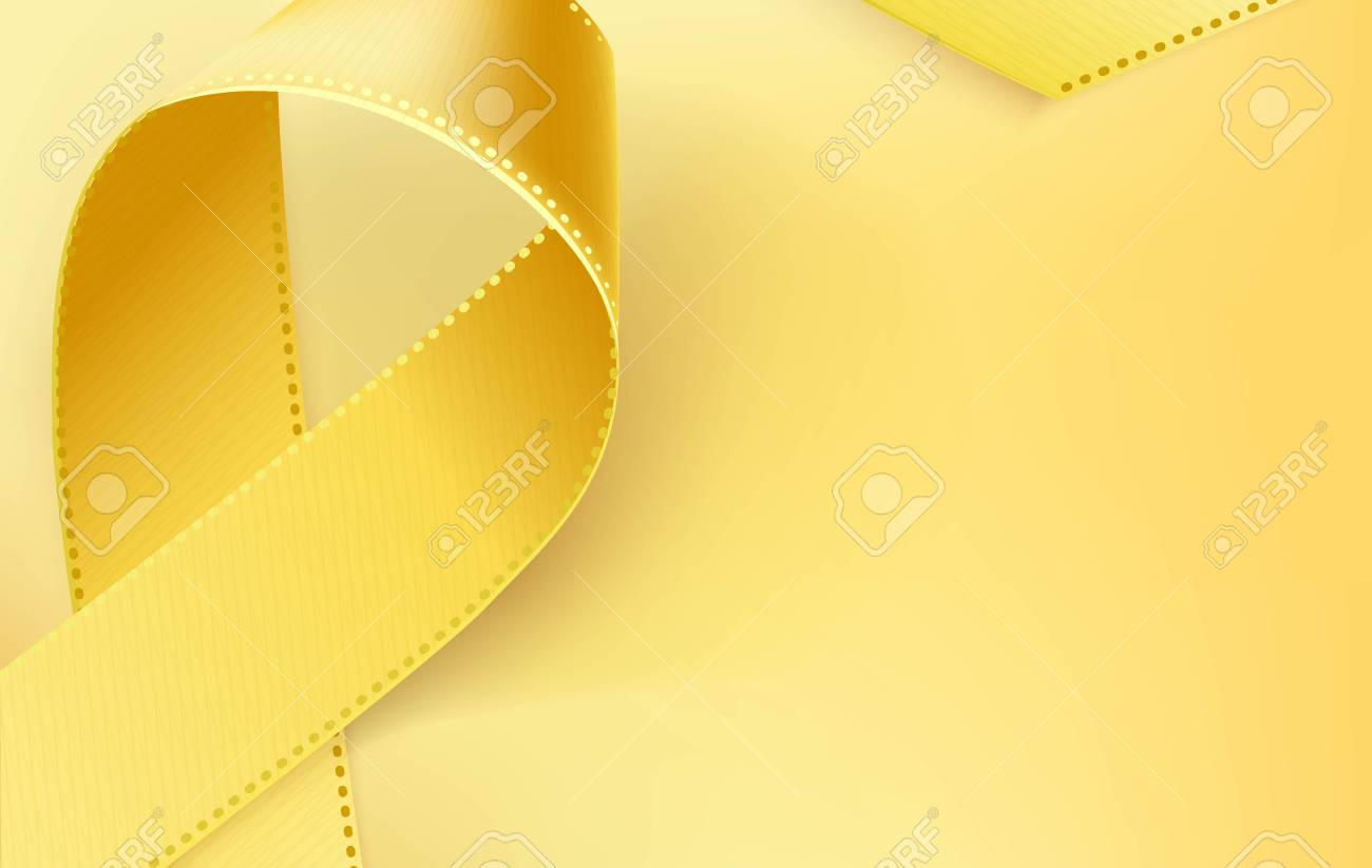 Childhood Cancer Awareness Ribbon Realistic Yellow Ribbon